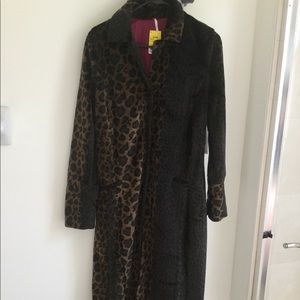 Free People Brand Faux Fur Leopard Trench Coat.
